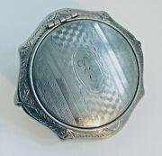 Antique Silver Compact W/finger Ring Bale Handle/stand
