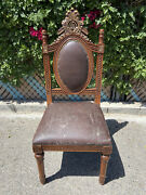 Vintage Antique Jacobean Gothic Revival Ornate Dining Side Chair Throne Chair