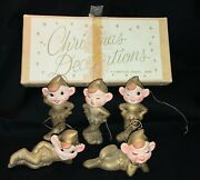 Vintage Set Of Commodore Christmas Ornaments - Pixie Elves In Original Box