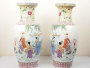 Pair Mirror Famille Rose Porcelain Vases Figural Group With Legendary Hua Mulan