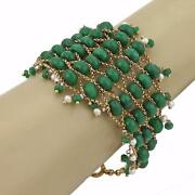 Vintage 18k Yellow Gold Emerald And Pearl Fancy Beaded Bracelet