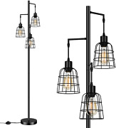 Industrial 3-light Tree Floor Lamp W/cup Shaped Cages Farmhouse Rustic Tall