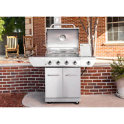 4-burner Stainless Steel Propane Gas Grill With Side Burner Easy-to-clean Grates