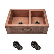 911 Offset Double Bowl Copper Apron Sink Strainers