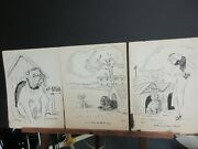 Three Black And White Dog Caricatures By Zito 9 X 12 Fair Condition