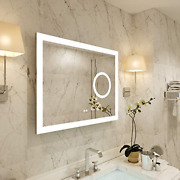 Petushouse 36 X 28 Inch Led Lighted Bathroom Mirror With 5.5 Inch 3x Lighted 5mm