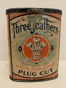 Three Feathers Litho Hinged Pocket Tobacco Tin Concave Front Tax Series 1902