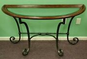 Ethan Allen Demilune Wood And Wrought Iron Console Table Beveled Glass Insert