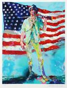 Leroy Neiman The Minuteman Signed And Numbered Serigraph Usa Flag World War