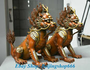 12 Old Chinese Red Copper Gilt Feng Shui Dragon Qilin Kylin Luck Statue Pair