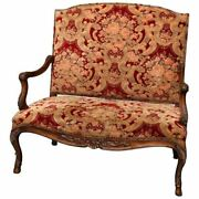 Antique French Victorian Style Tall Back Floral Upholstered Settee