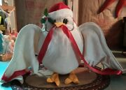 Vintage Annalee Doll 1990 White Christmas Owl W/ Ribbon And Hat 13 Tall Big
