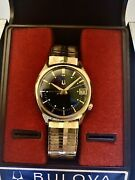 Vintage Bulova Accutron Solid Gold W/ Org. Signed Bracelet And Box Serviced