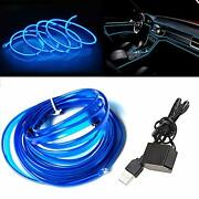 El Wire Blue With Sewing Edge 16ft/5m Neon Light Usb 5v With Fuse Protection ...