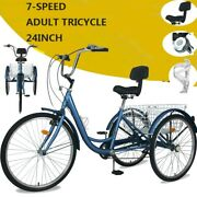24 7speed Adult Tricycle 3-wheel Trike Cruiser Bicycle W/basket For Shopping Us