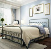 Queen Full Size Iron Bed Frame Mattress Foundation Head And Footboard Platform Bed
