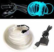 El Wire Ice Blue With Sewing Edge16ft/5m Neon Light Usb 5v With Fuse Protecti...