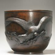 Large Antique Bronze Meiji Jardiniere With Eagle Hunting 19th C Japan Japanese