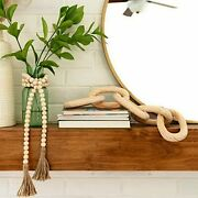 Decorative Wood Link Chain And Bead Garland Set | Hand Carved Pine Wood Natural