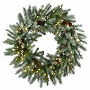 30 Snowy Morgan Spruce Wreath With Battery Operated Led Lights