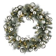 30 Frosted Silver Pine Wreath With Battery Operated Led Lights