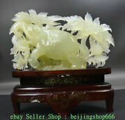 14 Chinese Natural Xiu Green Jade Jadeite Carved Wealth Lucky Elephant Statue