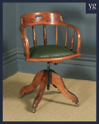 Antique Edwardian Solid Ash And Oak Green Leather Revolving Office Desk Arm Chair