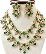Emerald Bridal Necklace With Earrings In Sterling Silver