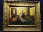 Vintage Beautifull Antique A Large Oil Painting Lady With Cavalier Germany Used