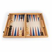We Games Natural Wood Backgammon Set Made In Greece, Leatherette Interior, 19 In