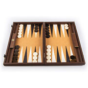 We Games Dark Wood Backgammon Set, Leatherette Interior, Made In Greece, 19 In