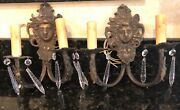 Antique Pair Bronze/brass Sconces With Faces Updated Wiring