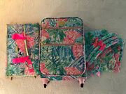 New Lilly Pulitzer Luggage Set Bohemian Queen Suitcase Garment Bag Robe Rare