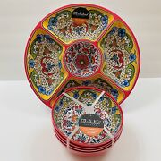 Il Mulino Spanish Style Tile Medallion Melamine Chip And Dip Serving Tray And Bowls