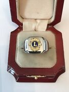 """New Men's Heavy Solid Stainless Steel """"lions Club"""" Ring"""