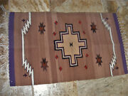 100 Wool Knotted Rug Fringed Striped Aztec Design Vintage 1960s Mexico 38 X23