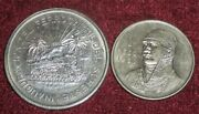 2 - 1950 Mexico Silver 1 And 5 Pesos Railroad Nice Condition 1 Year Types