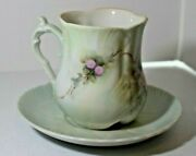 Collectible Vintage Lt. Green Ornate Coffee/tea Cup And Saucer Signed By Kleinhein