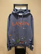 Gallery Dept X Lanvin Logo Painted Fade Blue Pullover Hoodie Size Large