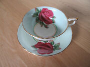 Paragon Tea Cup And Saucer Mint Green Large Red Cabbage Roses Rose Signed Johnson