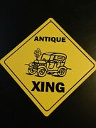 Antique Car Vehicle Large 16 Inches Point Point Yellow Crossing Sign