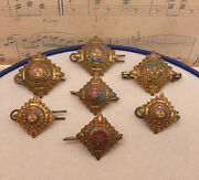 Job Lot Of Seven Vintage Ww2 Military Officers Insignia Pip Badges - Bath Stars