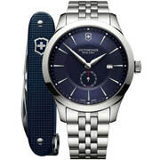 Victorinox Swiss Army Menand039s Watch With Knife Alliance Silver Bracelet 241763.1