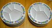 Kenro Mid Century Melamine Melmac Divided Fondue Plates Roosters/hearts Lot 12