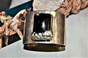 Heavy 99g Hopi / Navajo Onyx Cuff Indian Village Sterling Silver Woverlay Dsn Ee