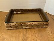 Pyrex 233-n Wicker Casserole Holder Carrier Leather Handles With Casserole Dish