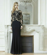 Zuhair Murad Black Lace Embroidered Sheer Sleeve Dress Gown 44 8
