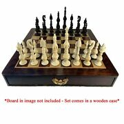Tower Bone Chess Pieces In Teakwood Box - 7 Inch King