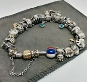 Pandora Sterling Silver And 14k With 22 Charms, Safety Chain