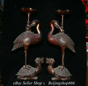 25.6 Old Chinese Bronze Fengshui Crane Dragon Turtle Candle Stick Statue Pair